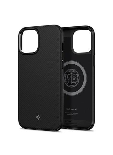 Spigen iPhone 12 Pro Max Kılıf, Mag Armor Siyah